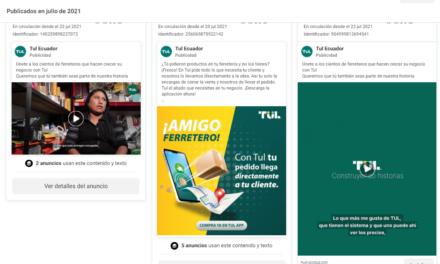 TUL la empresa que tiene más ADS de facebook en el sector ferretero B2B